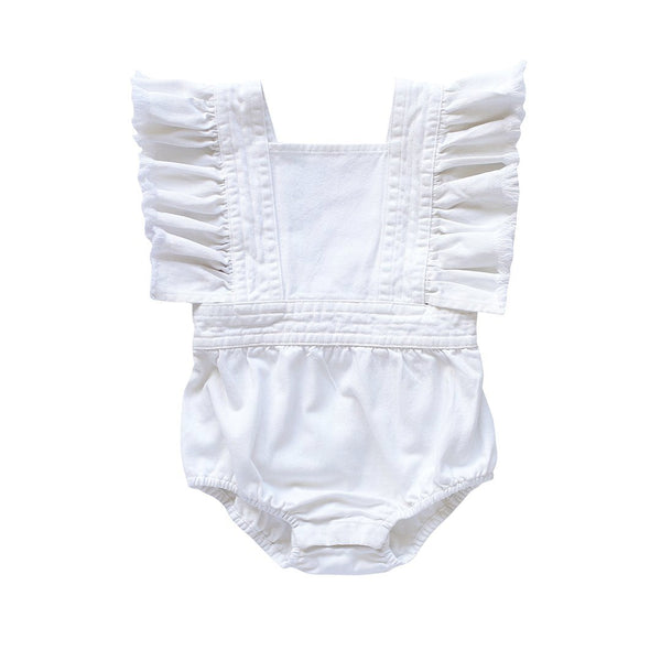 maisie ruffle playsuit - milk denim