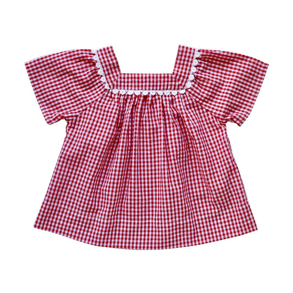 nellie smock top - cherry gingham seersucker