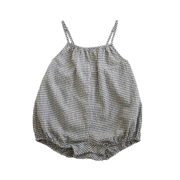puffball playsuit - gingham seersucker