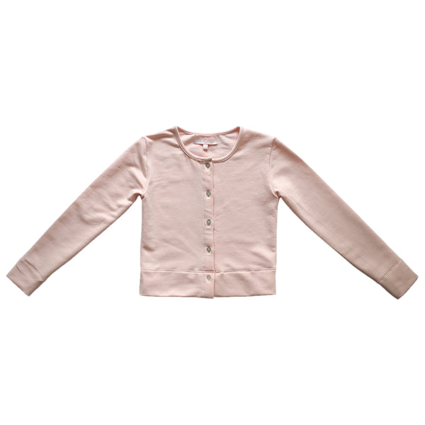 warm-up cardigan - ballet pink french terry