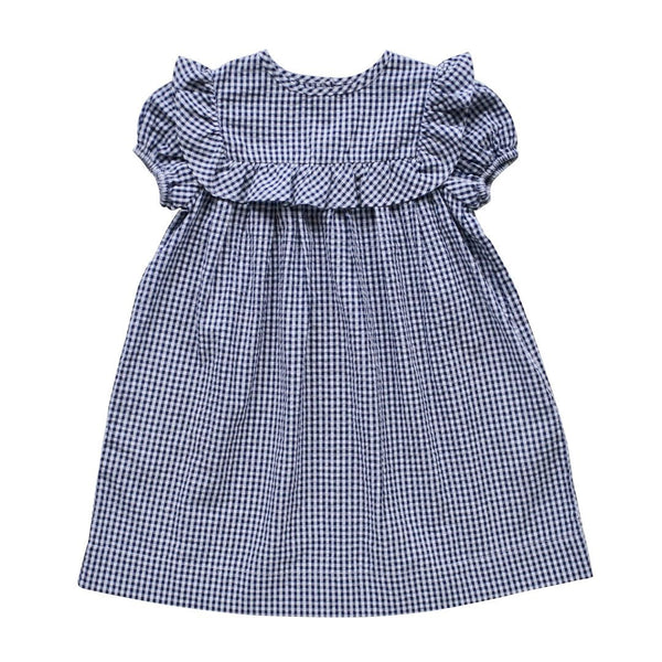 willow dress - indigo gingham seersucker