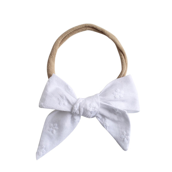 betty bow headband - jasmine broderie anglaise