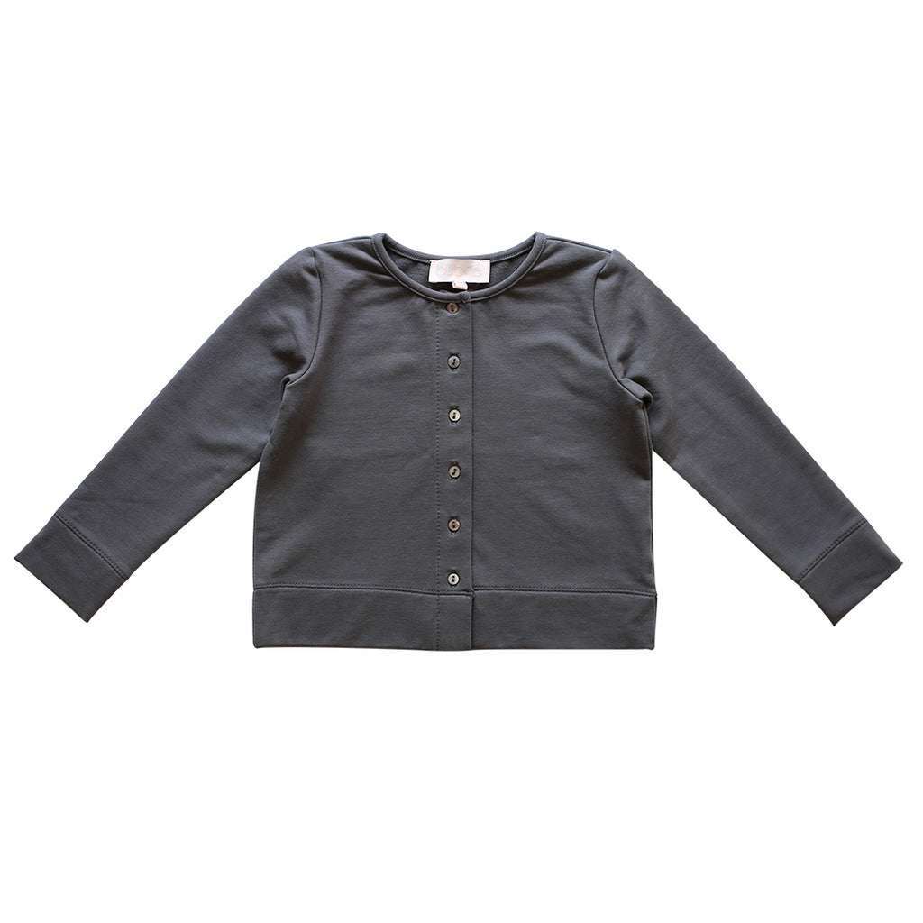 warm-up cardigan - charcoal french terry