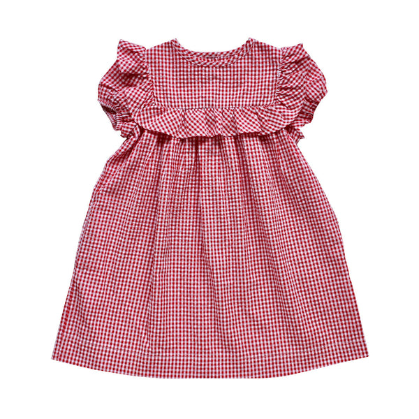 willow dress - cherry gingham seersucker