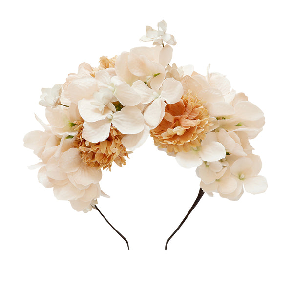 elsbeth flower crown - chai hydrangea