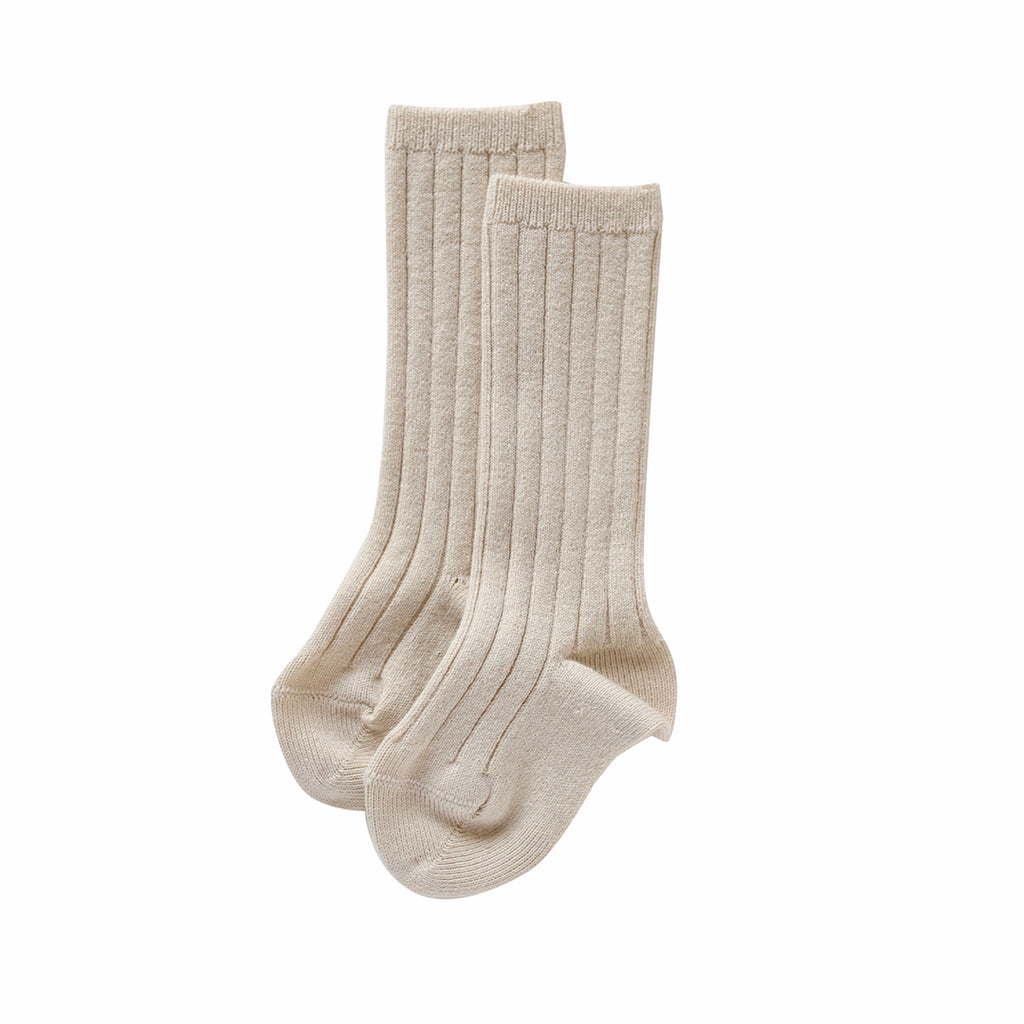 condor knee high socks - chai ribbed cotton