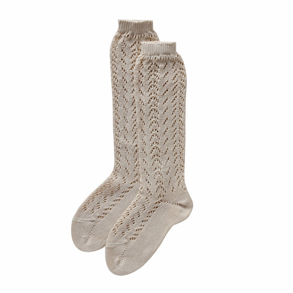 condor knee high socks - chai lacework cotton
