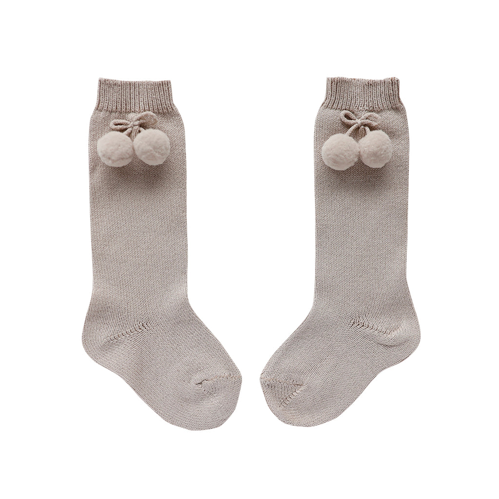 condor pom pom socks - mushroom cotton blend