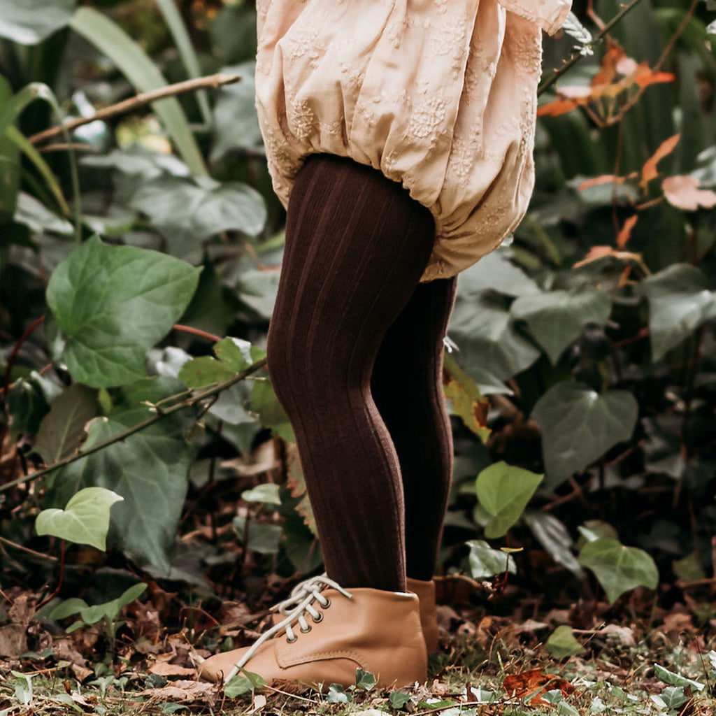 condor rib tights - chocolate cotton blend