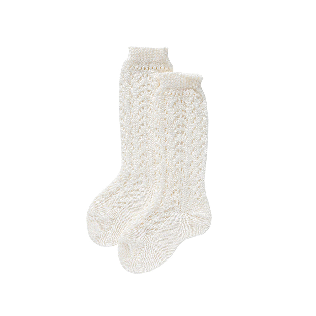 condor knee high socks - cream lacework cotton