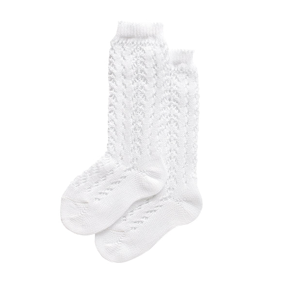 condor knee high socks - white lacework cotton