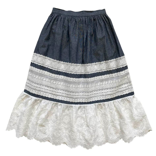 frida tiered maxi skirt - crossweave denim