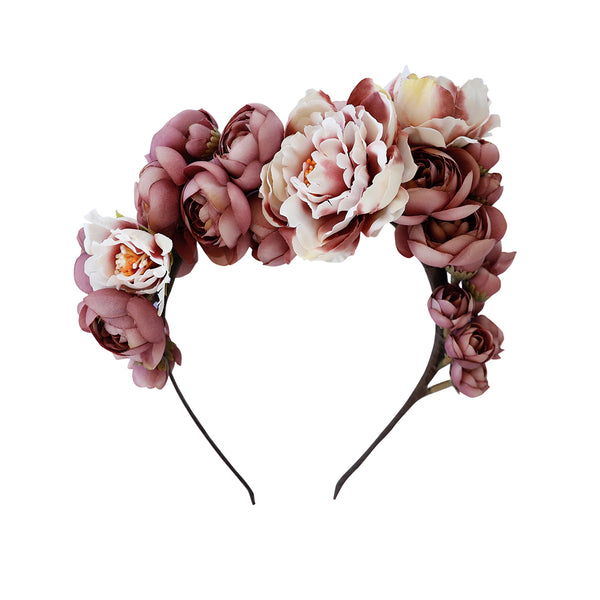 margot flower crown - sugarplum peonies