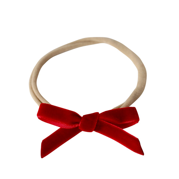 RED VELVET BOW BABY + TODDLER GIRL HEADBAND