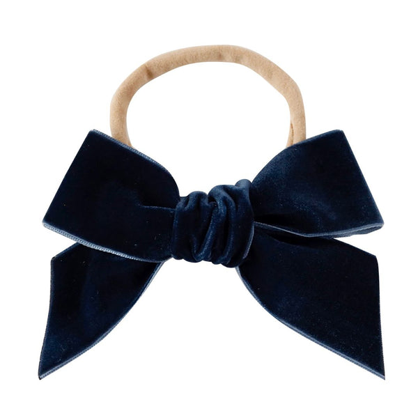 deluxe bow headband -  prussian blue velvet