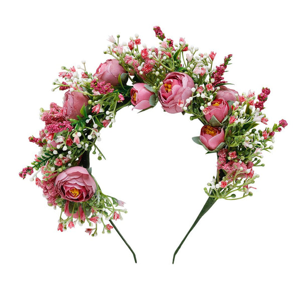 zenaya flower crown - pink peonies