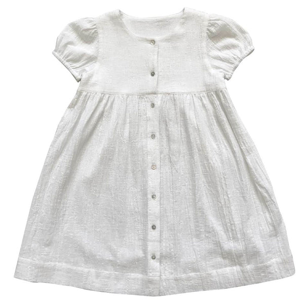 buttoned-up dress - crosshatch crinkle