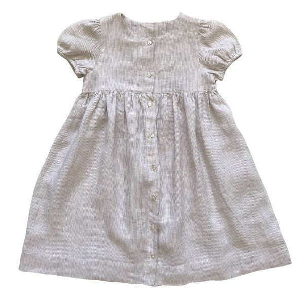 buttoned-up dress - ticking stripe linen