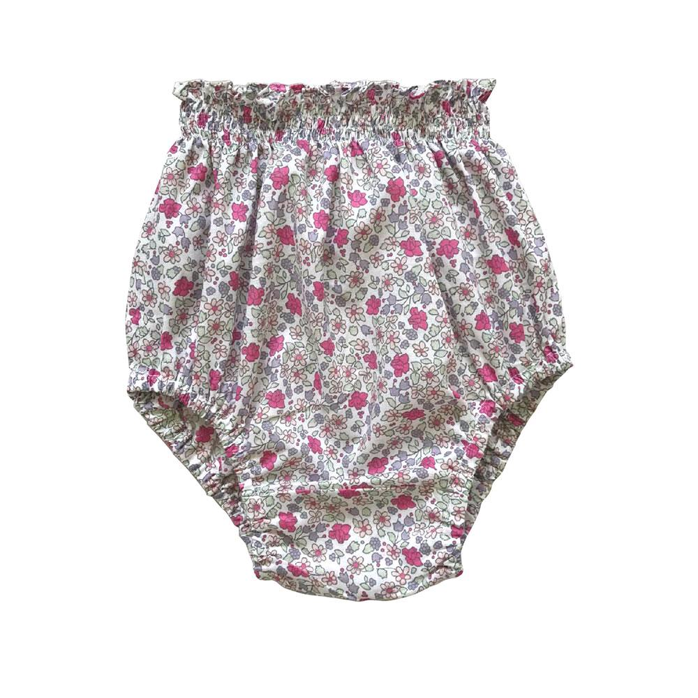 Chiquita fuchsia pink floral print baby bloomer | Aubrie Australia