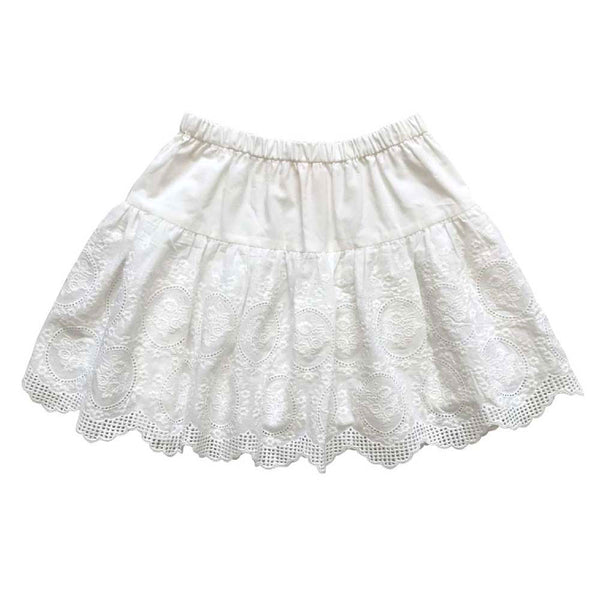 Rosa ivory little girls embroidered cotton skirt | Aubrie Australia