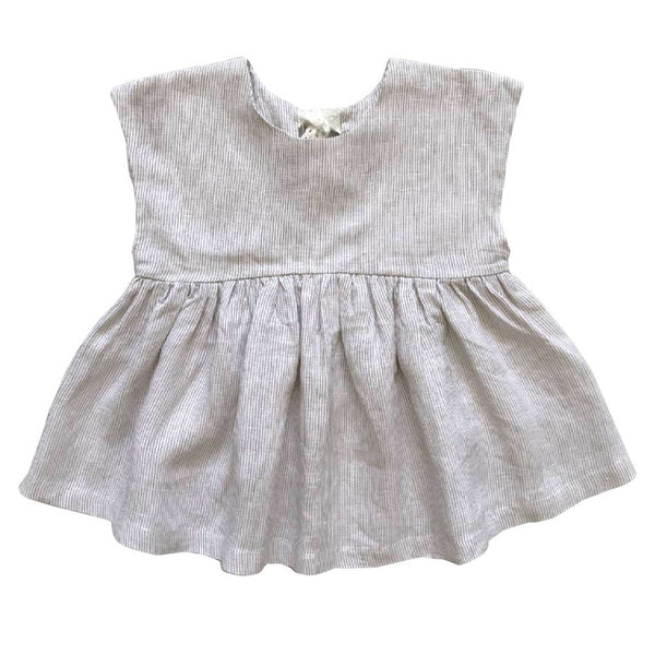 tied-up babydoll top - ticking stripe linen