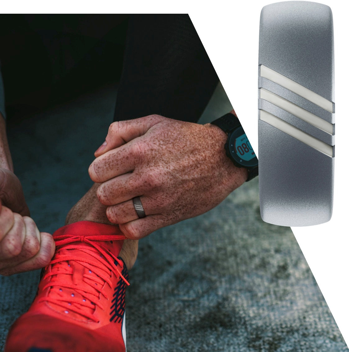 Runner wearing a silicone ring