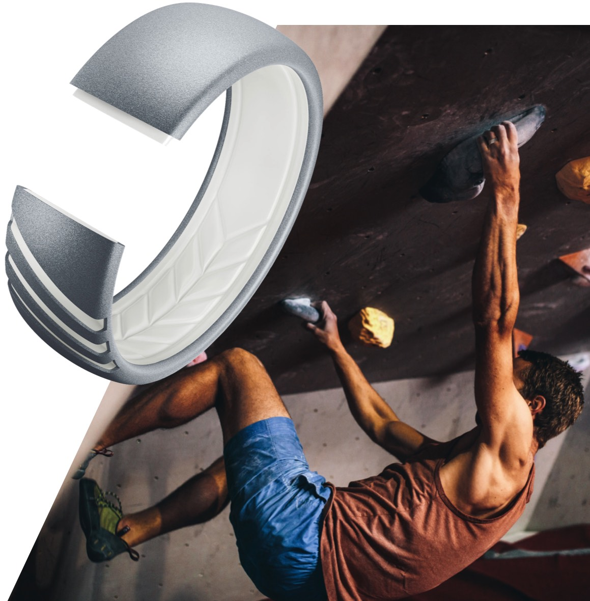 Rock climber wearing a silicone ring