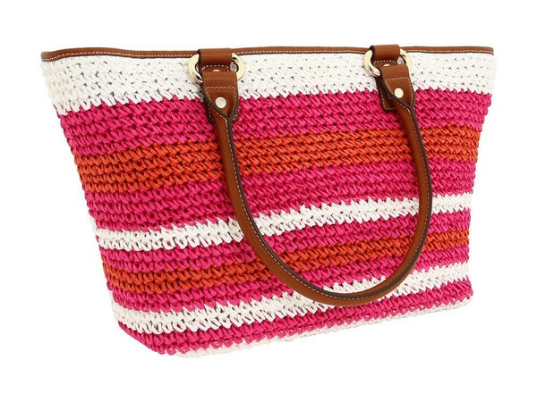 DKNY Pink Orange Straw Brown Leather Large Resort Beach Shopper Tote NWT