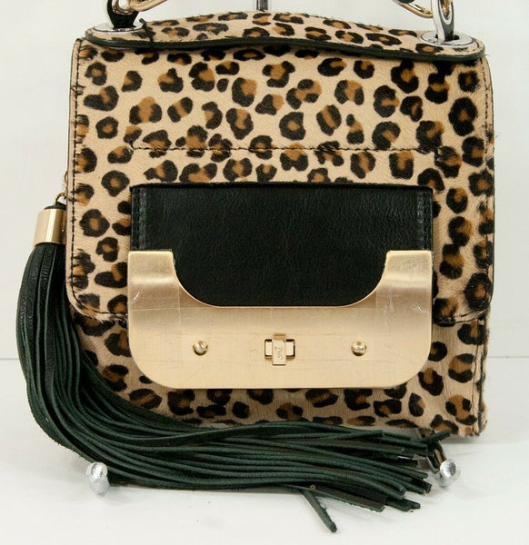 Diane Von Furstenberg Harper Bon Bon Leopard Pony Hair Leather Bag NWT $695