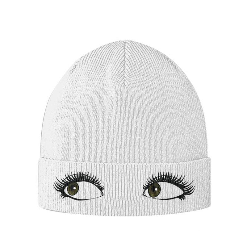 Madison Beer Eyes Beanie in White