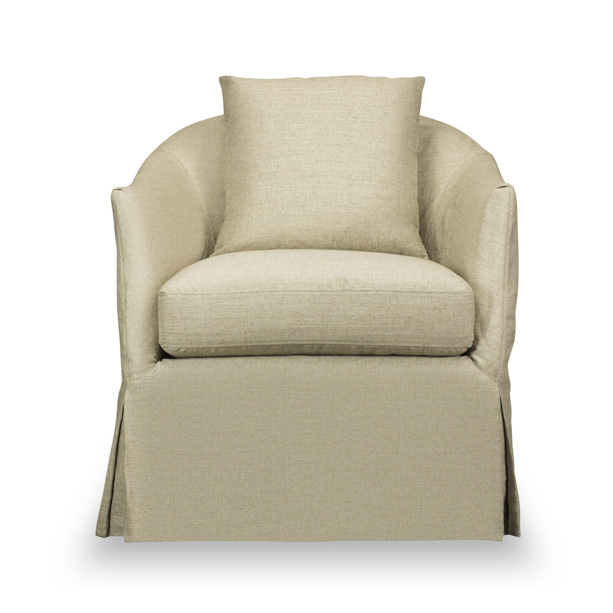 ... Amy Slip Covered Swivel Chair In Linen | Shopcomfortclub ...