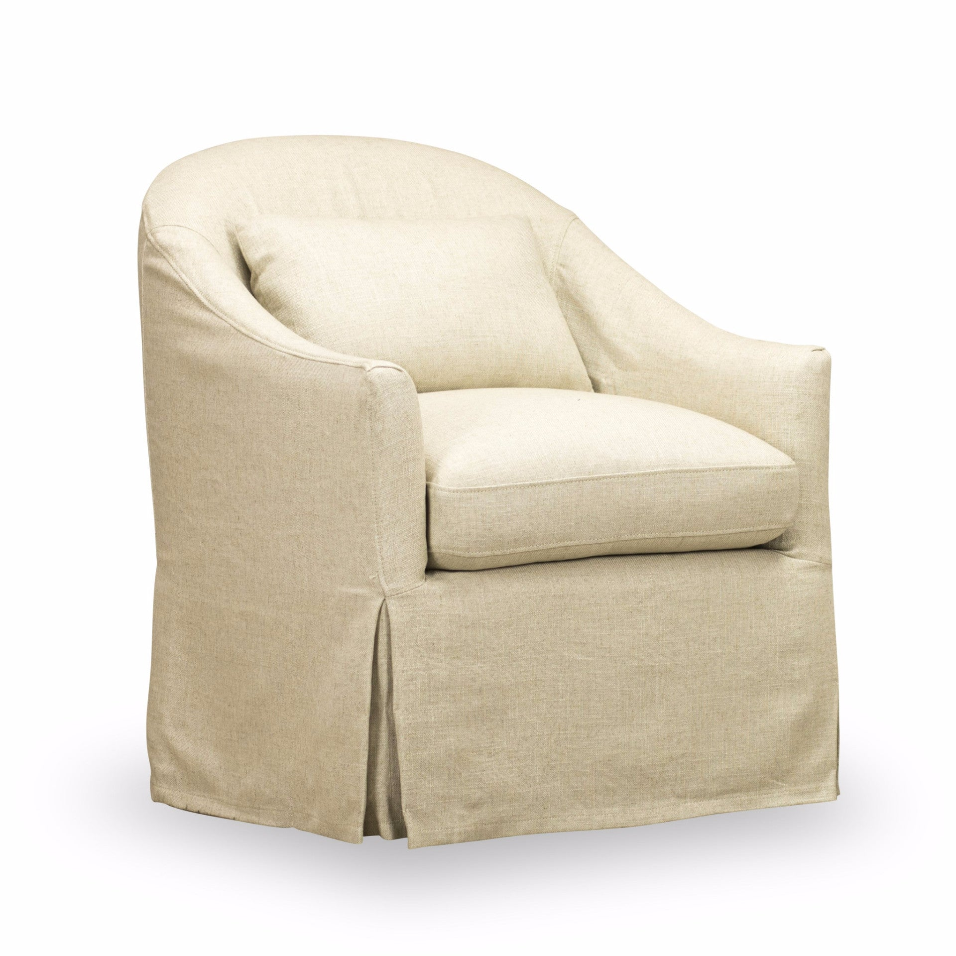 BECKY SLIP COVERED SWIVEL CHAIR Natural Ecru