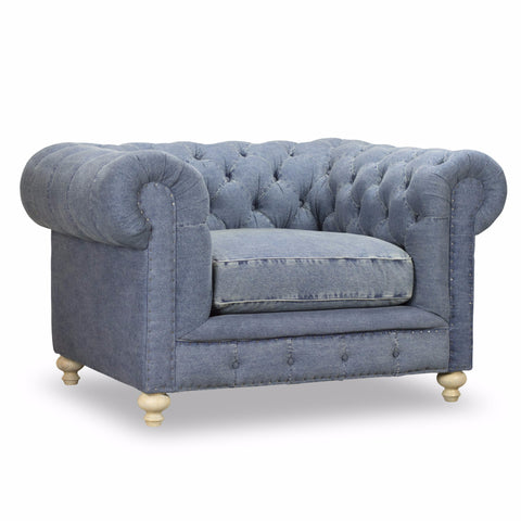 Greenwich Tufted Chair   Blue Denim