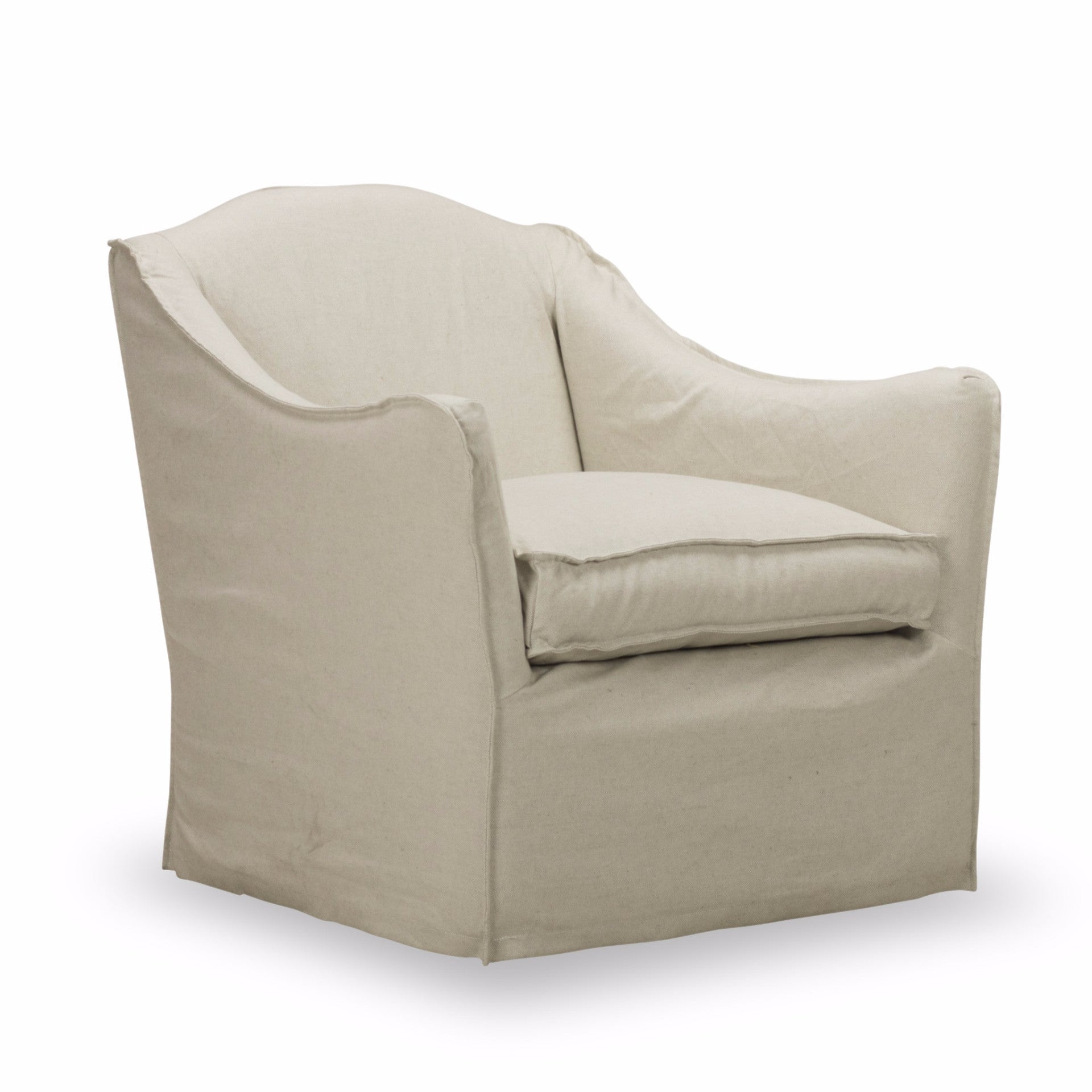 Keith Slip Covered Swivel Chair   Light Linen
