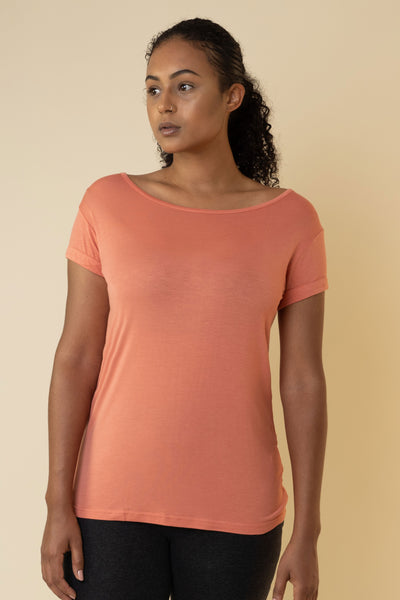 The Valentina Scoop Tee in Coral