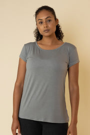 The Valentina Scoop Tee in Grey