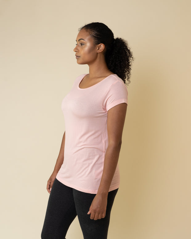 The Valentina Scoop Tee in Pink