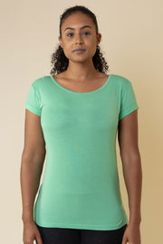 The Valentina Scoop Tee in Biscay Green