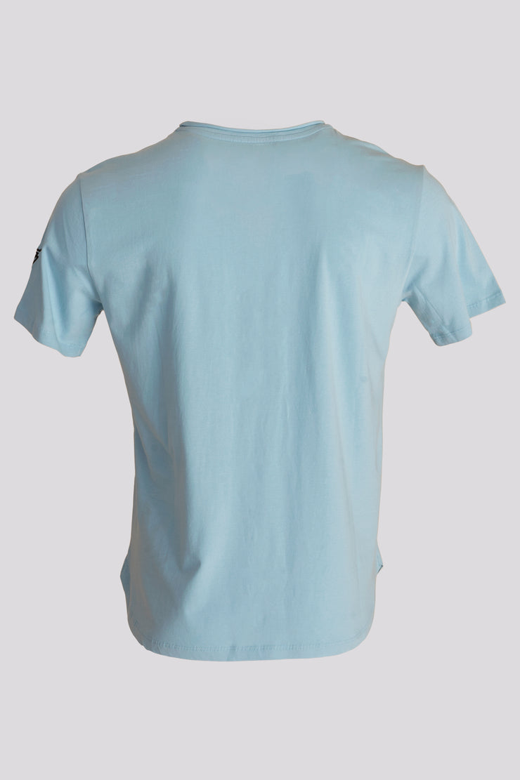Roll Cut Split Tshirt in Topaz