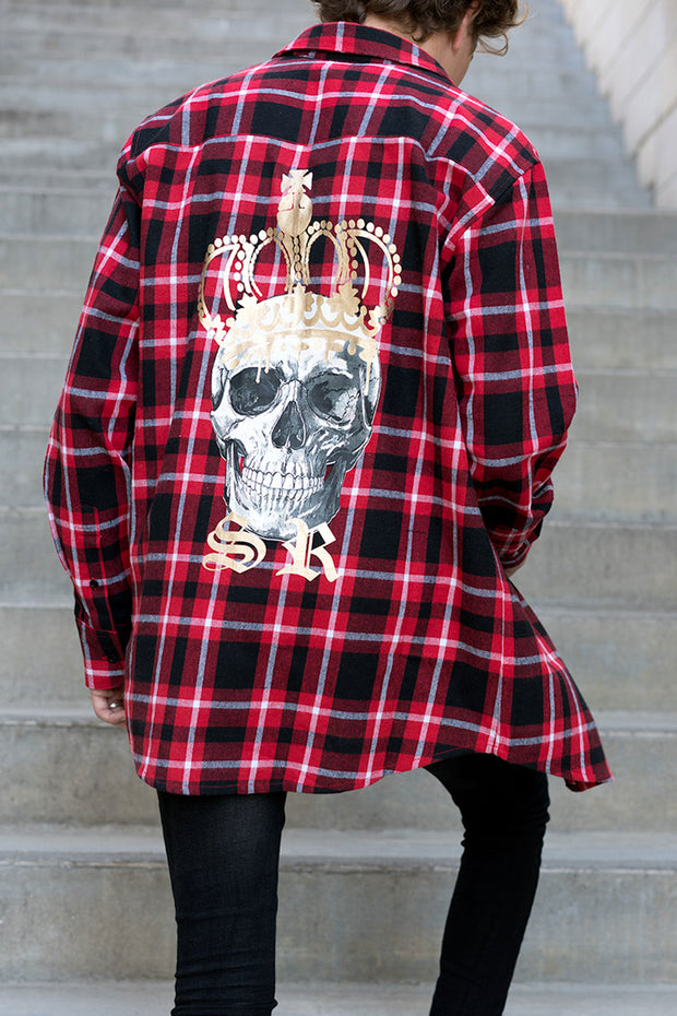 Plaid Shirt - Royalty Skull