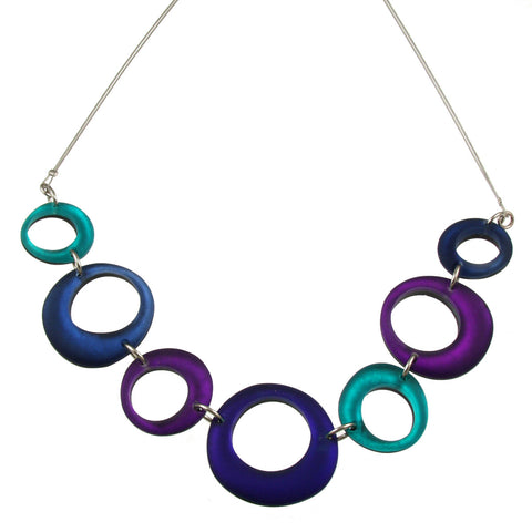 Irregular Rings Necklace- Peacock