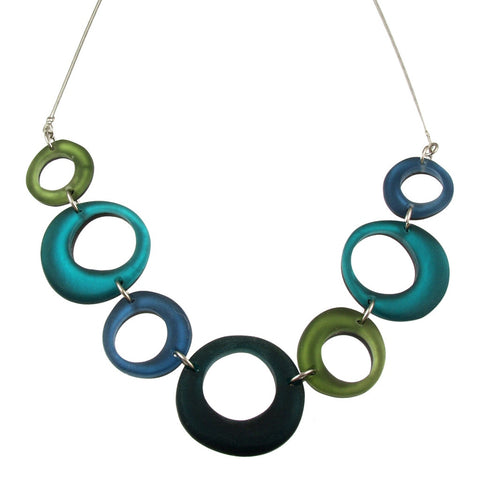 Irregular Rings Necklace- Turquoise Forest