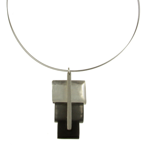 Square Lollipop Pendant-Charcoal Combo