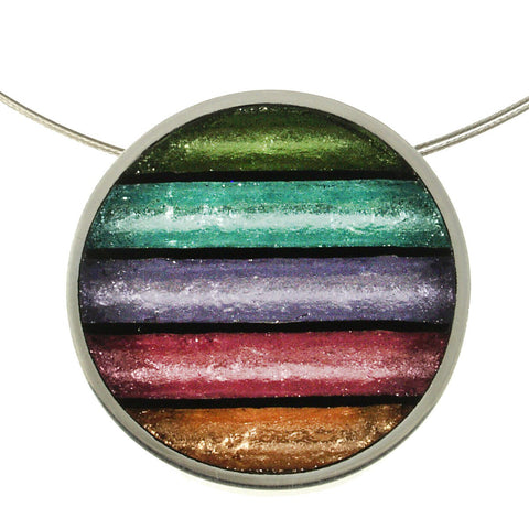 Circle Stripe Necklace- Pastels