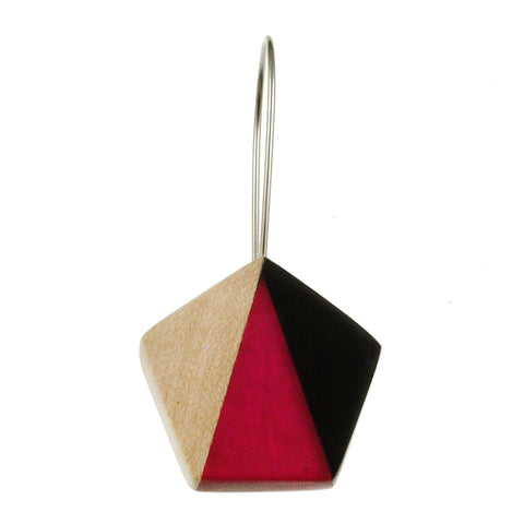 Origami Earrings- Magenta/White/Black