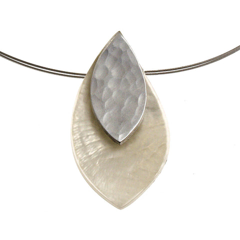 Hammered Leaf and Petal Necklace- White