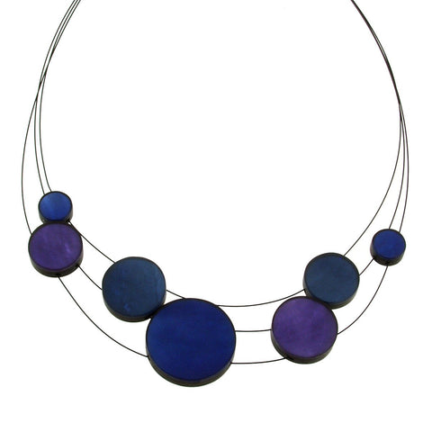 Planetary Necklace 3 Strand Blue Combi