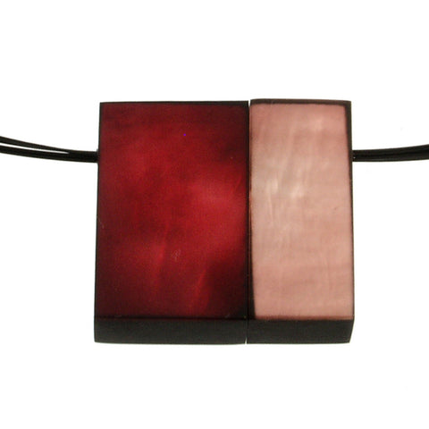 Square Magnetic Pendant-Ruby and Peach