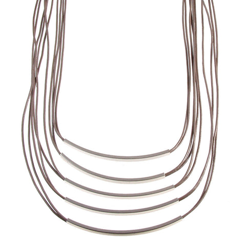 Matte Silver/Taupe Multistrand Necklace