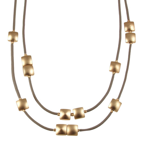 Double Squares Necklace- Taupe/Matte Gold